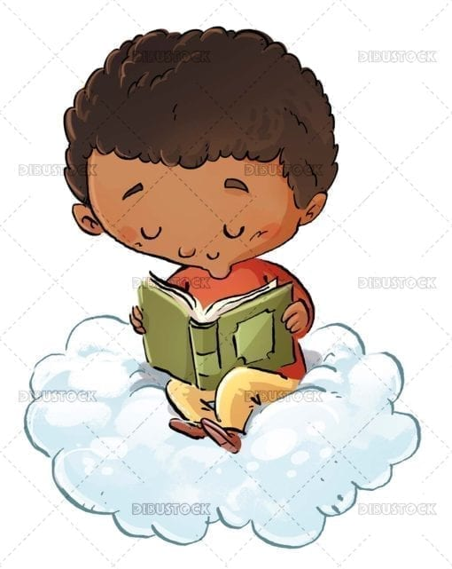 Boy reading on a cloud