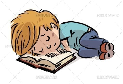 Boy sleeping with book