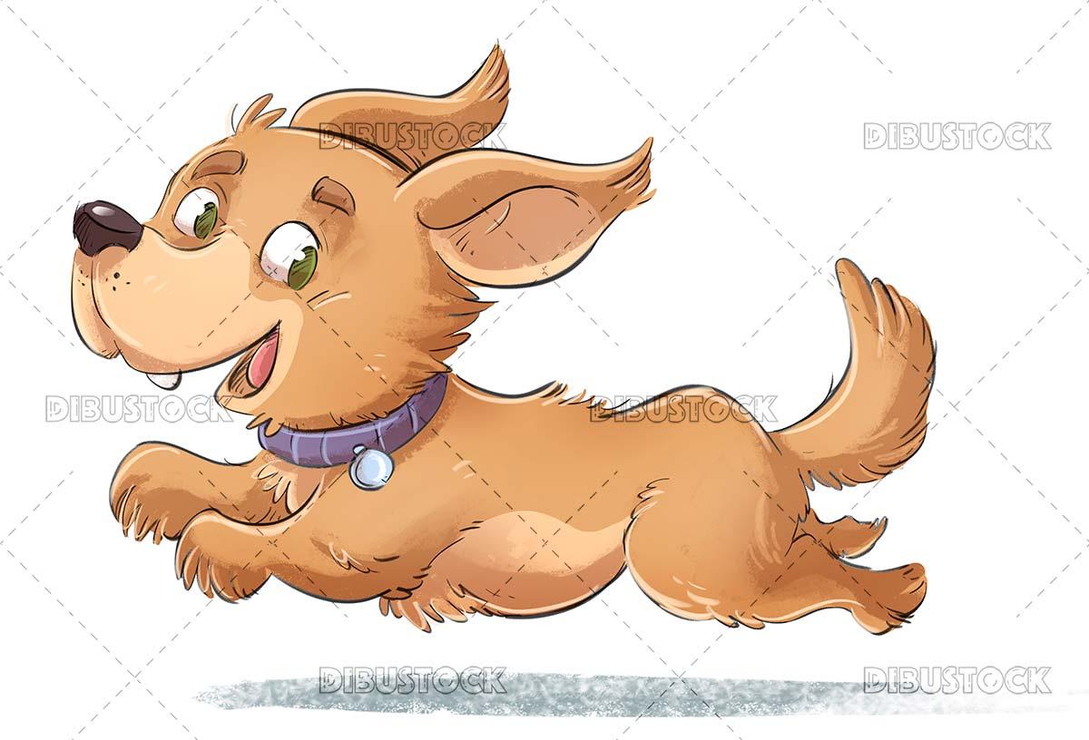 Brown dog running and jumping