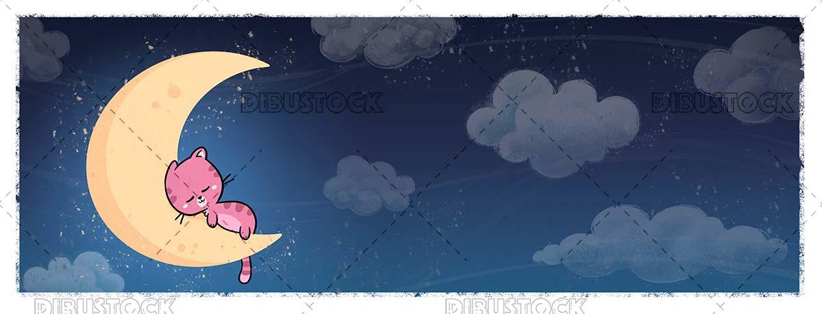 Cat sleeping on the moon at night