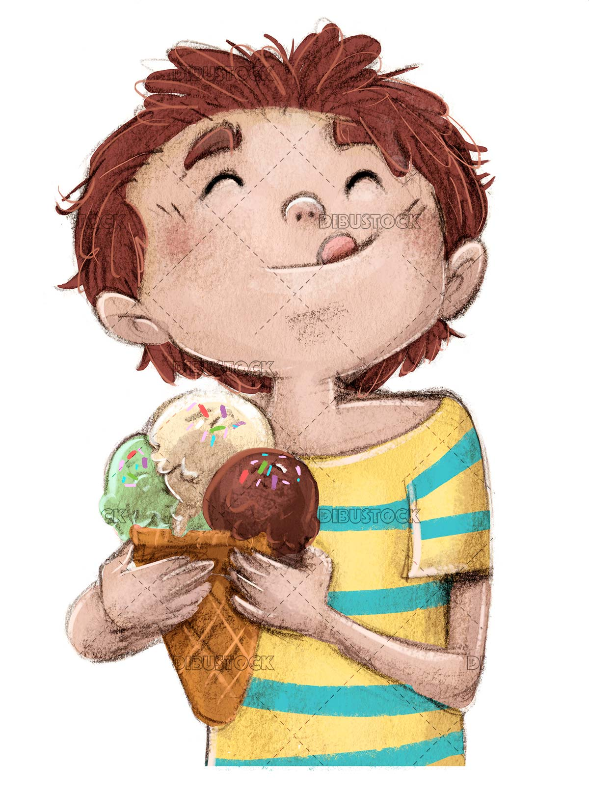 Child eating a cornet ice cream