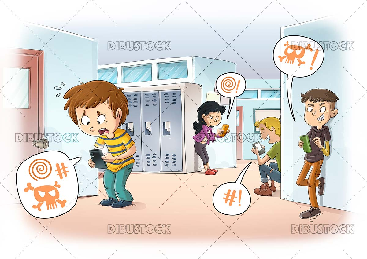 Child suffering cyberbullying at school