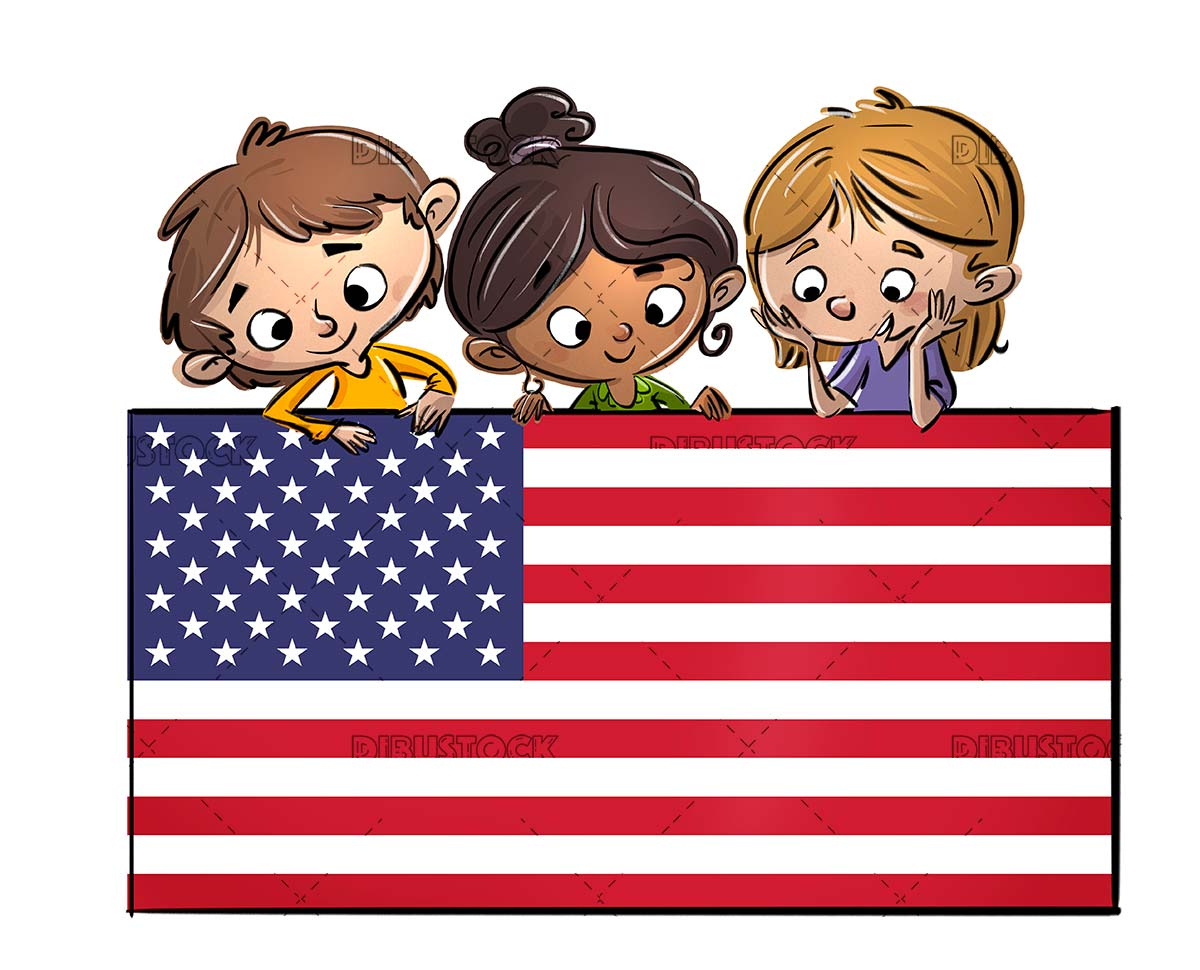 Children holding USA flag poster