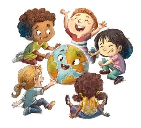 Children sitting surrounding the planet earth