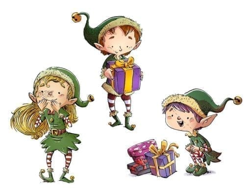Christmas elves with gifts