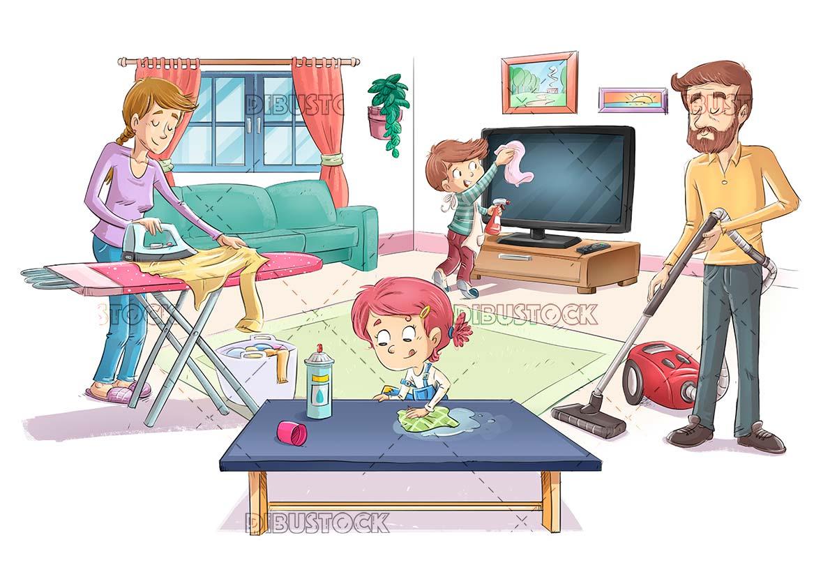 Family doing housework