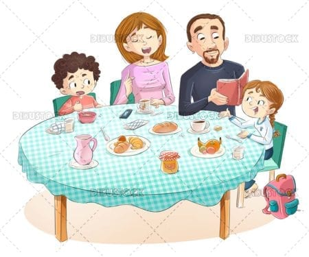 Family talking and having breakfast at table