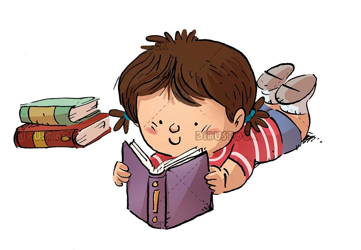 Girl reading a book lying down