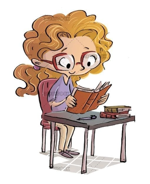 Girl reading books at her desk