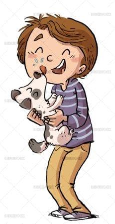 Happy boy with his dog
