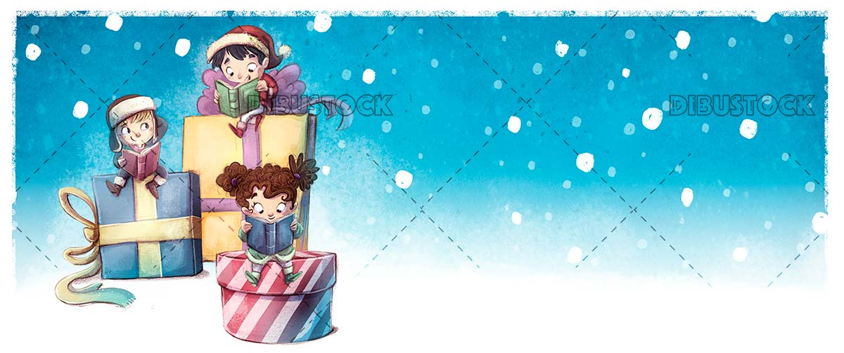 Happy children with books and gifts at christmas