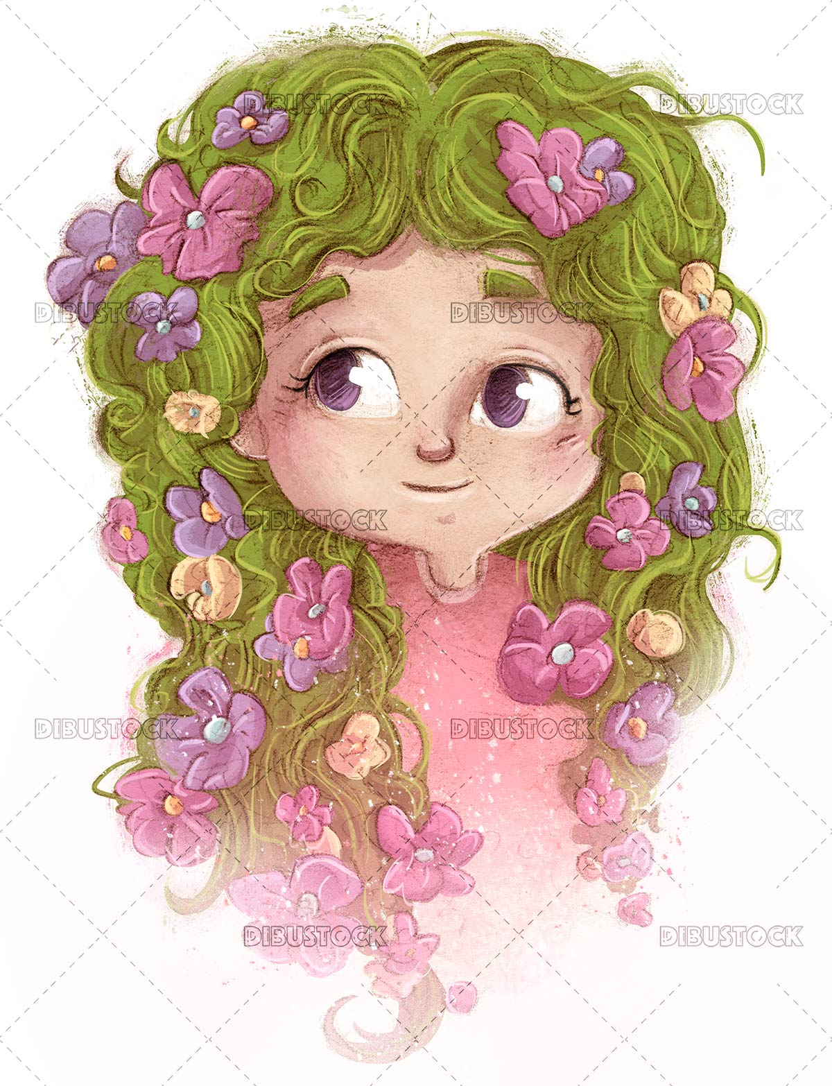 Little girl face with flowers in her hair