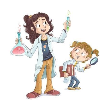 Little scientific girls