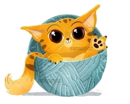 Orange cat with ball of wool