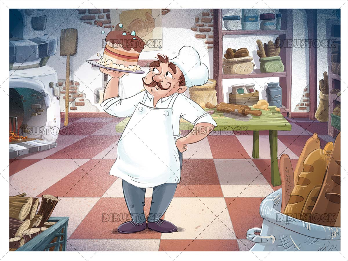 Pastry chef with cake in the bakery