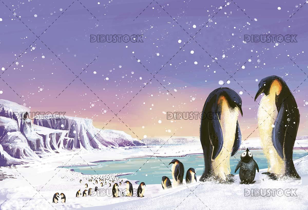 Snowy landscape with penguins