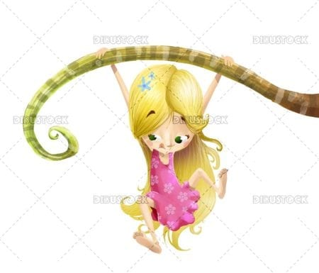 Blonde girl hanging from a branch