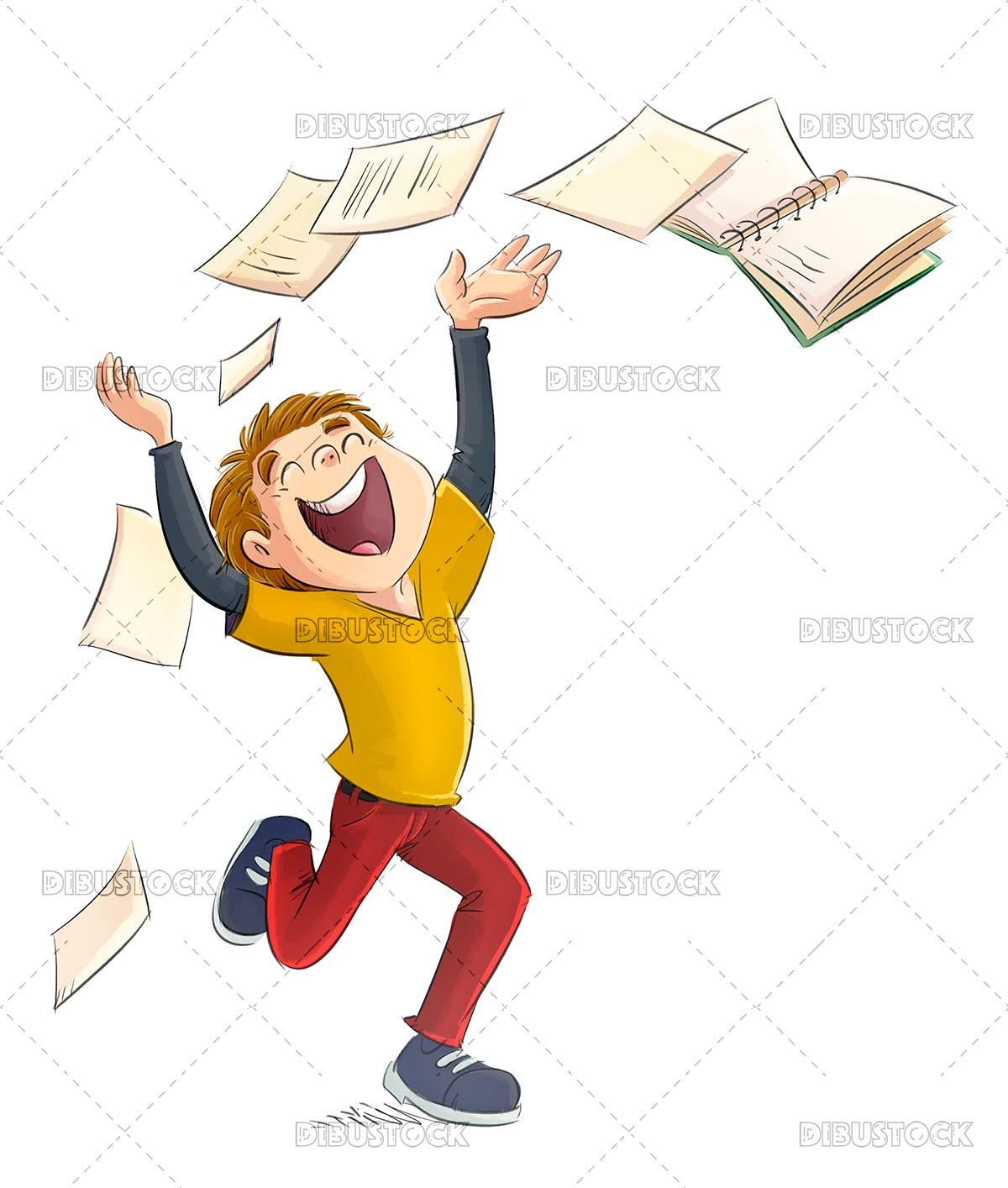 Boy jumping for joy throwing papers