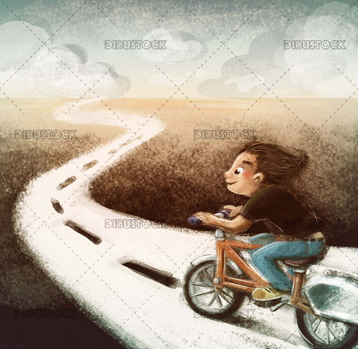 Boy on road bike