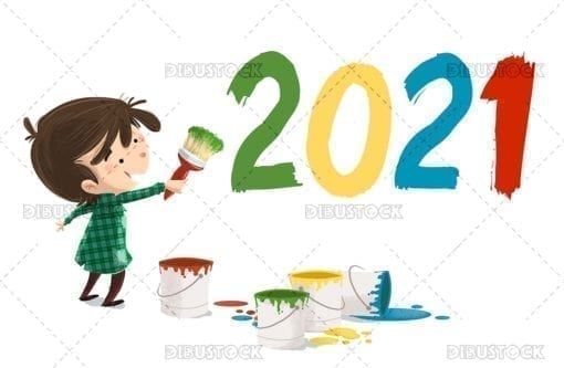 Boy painting the new year 2020