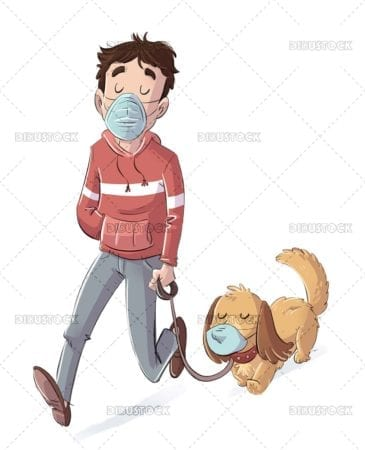 Boy walking his dog with mask