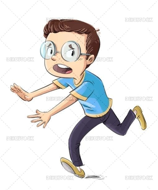 Boy with glasses running in fear
