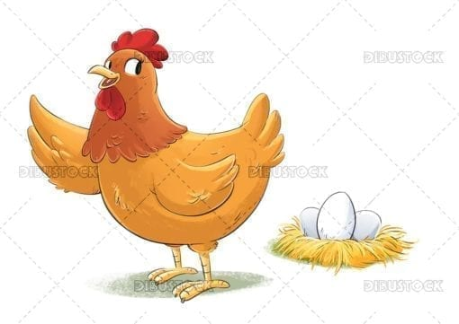 Brown hen with eggs 1