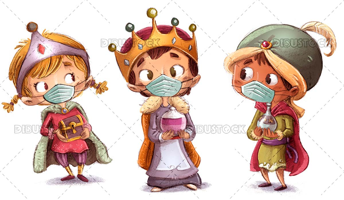 Children kings of the east with mask
