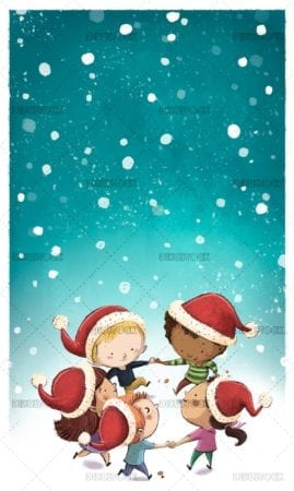 Children with christmas hat while it snows
