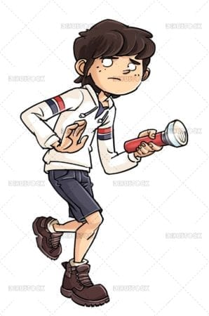 Detective boy with lantern