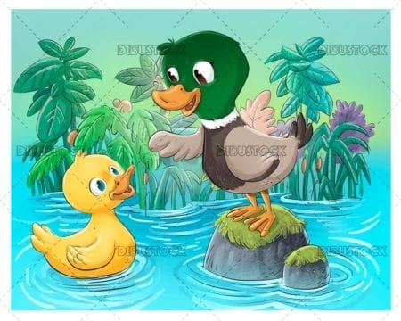 Ducklings in the water