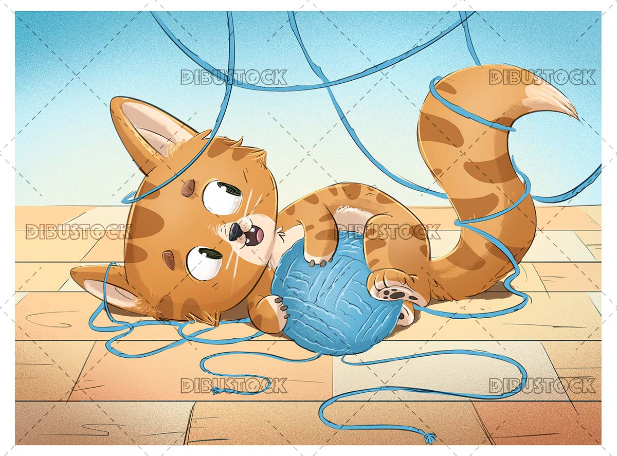 Funny orange cat playing with ball