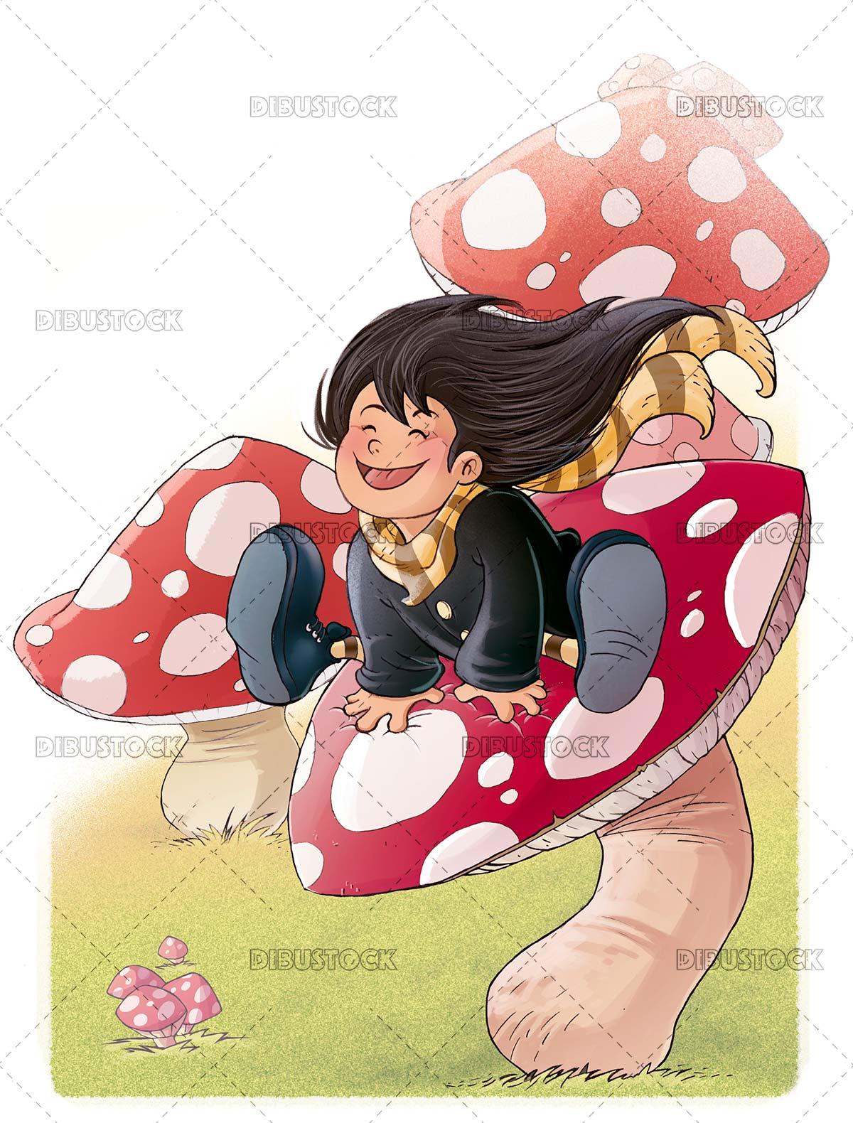 Girl jumping among mushrooms