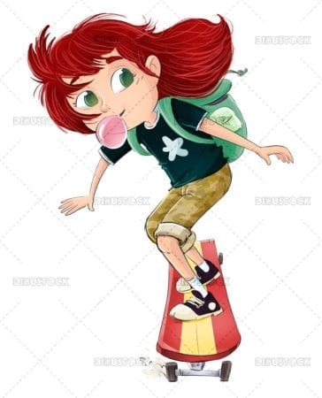 Girl riding skateboard with bubble gum