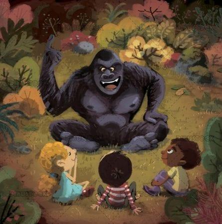 Gorilla talking to children
