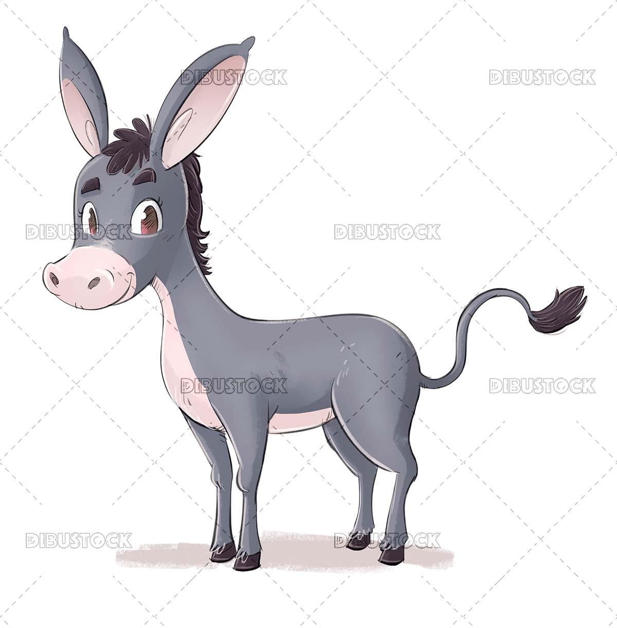 Gray donkey illustration