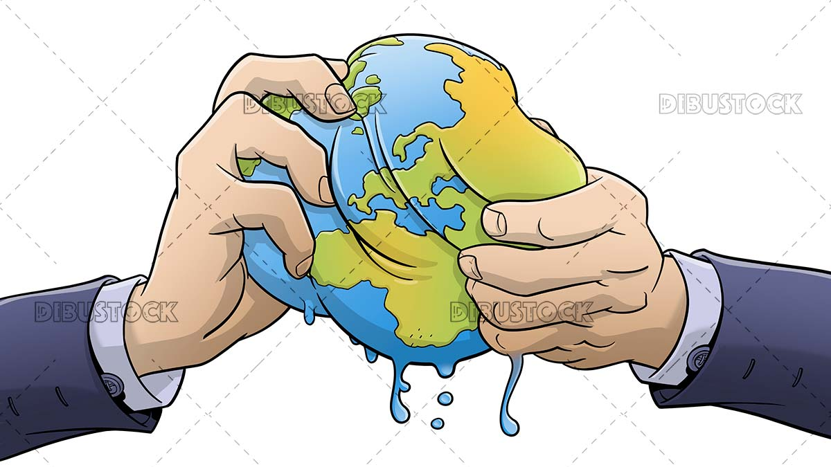 Hands squeezing the world