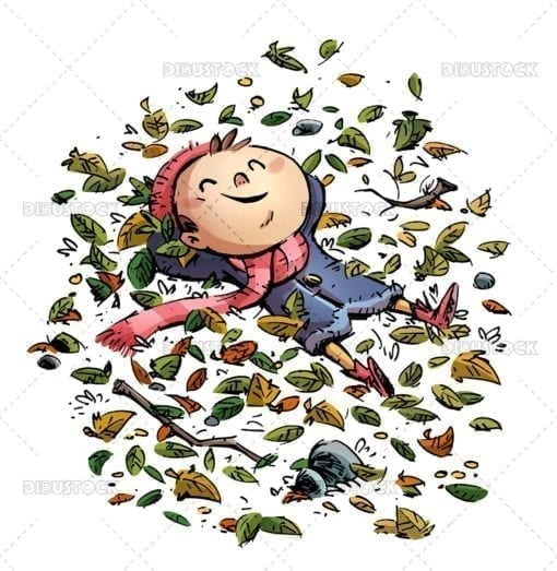 Happy child lying among the autumn leaves
