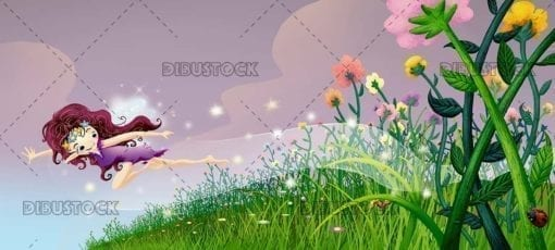 Happy fairy flying in a flower field