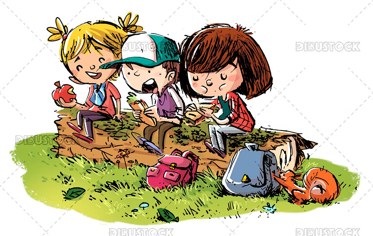 Hiking kids sitting on a log eating