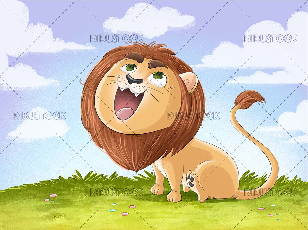 Lion roaring in nature