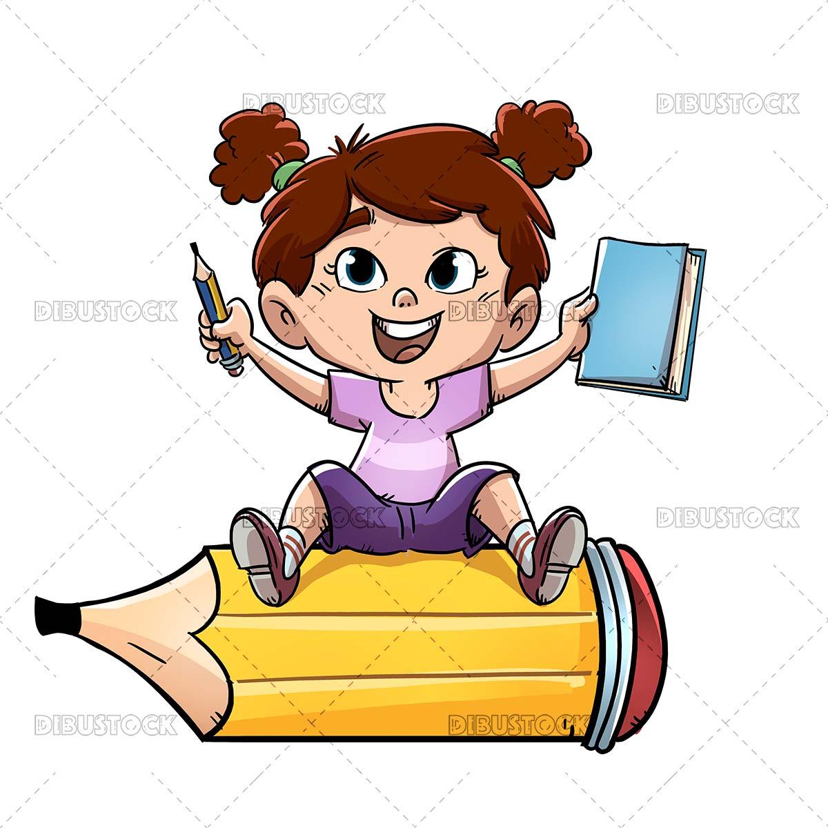 Little girl sitting on a big pencil