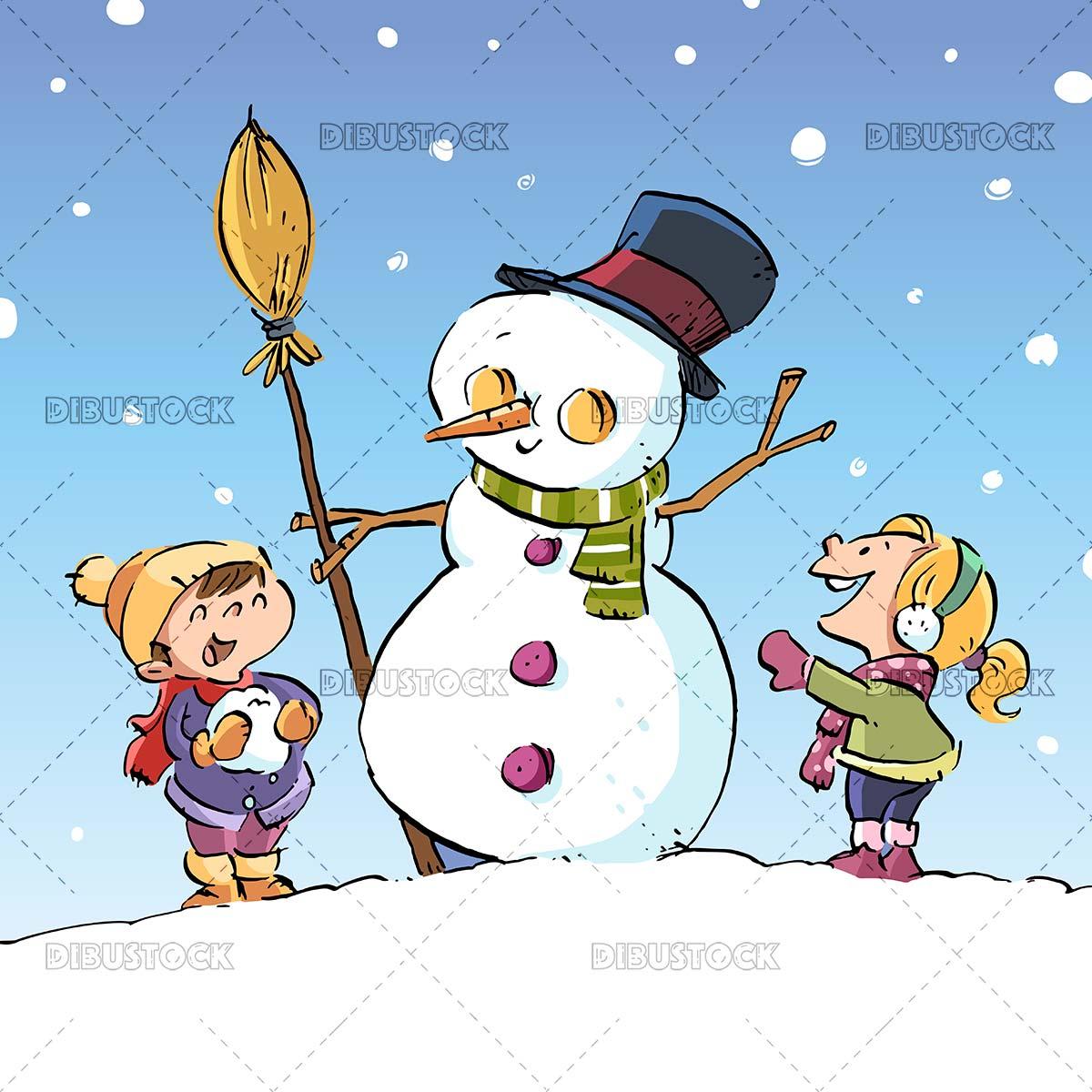 Little kids making a snowman
