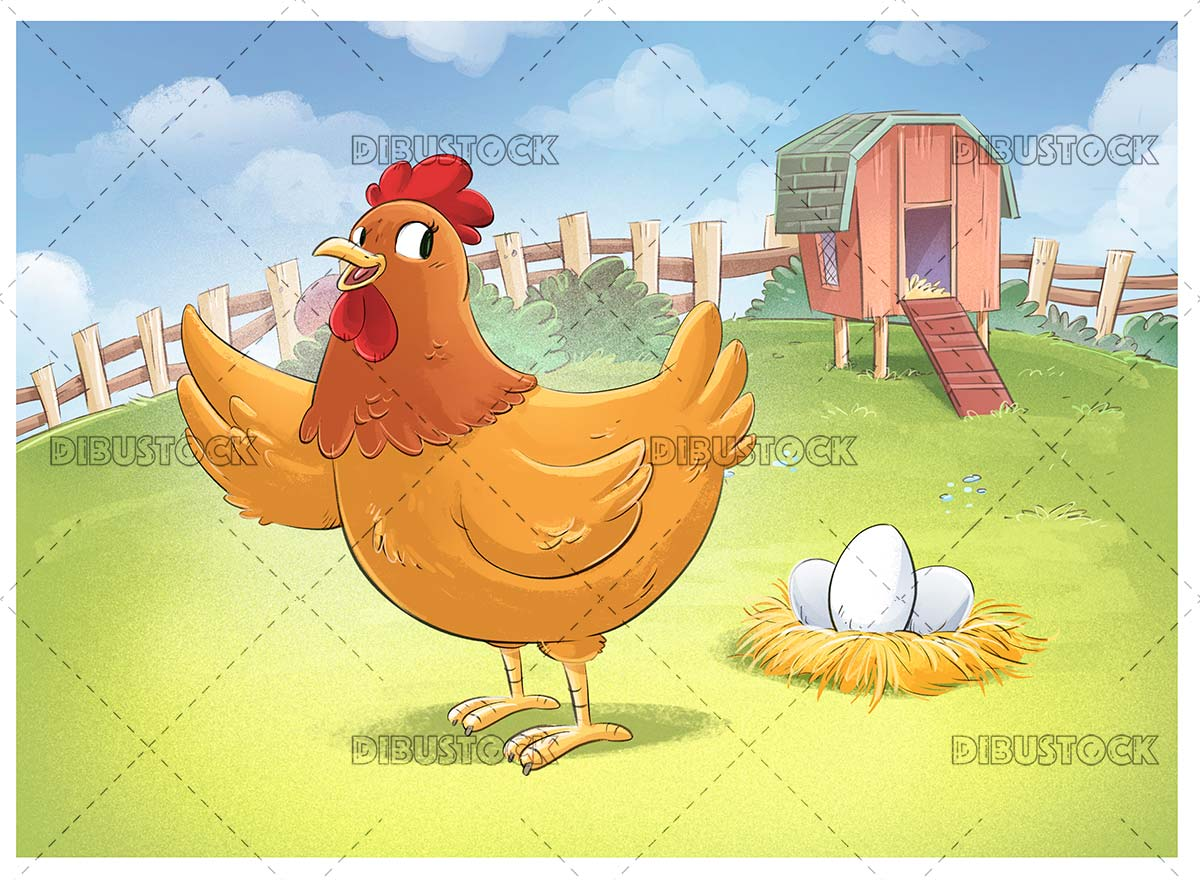Orange hen on the farm with eggs