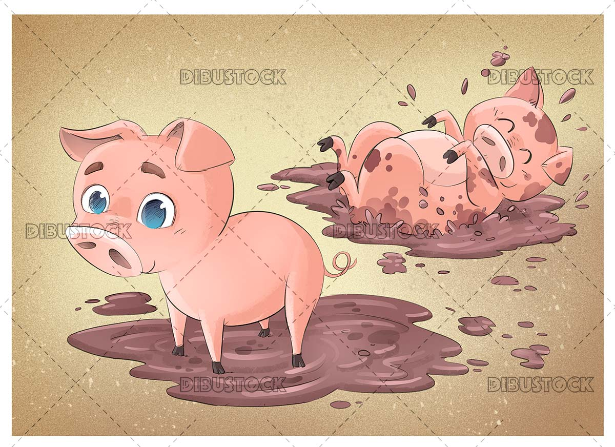 Pigs in the mud playing