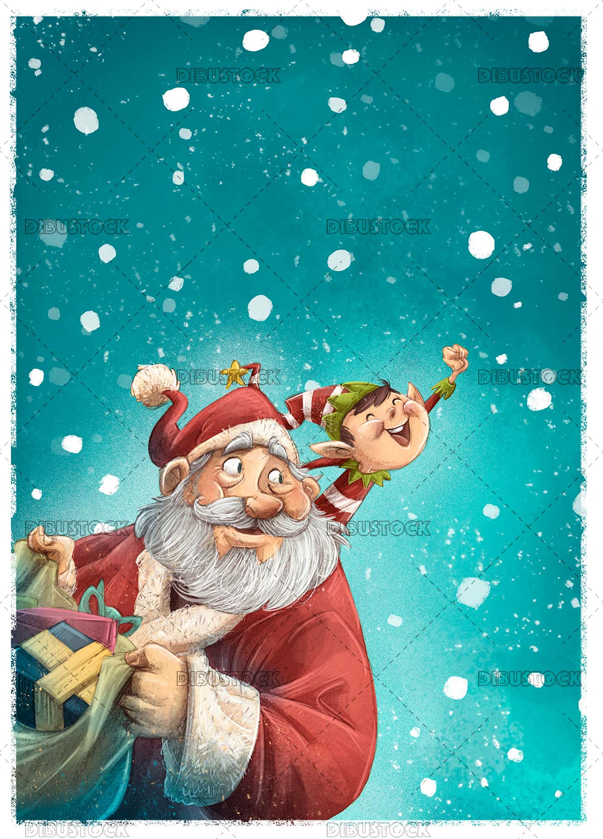 Santa Claus and elf with snowing background
