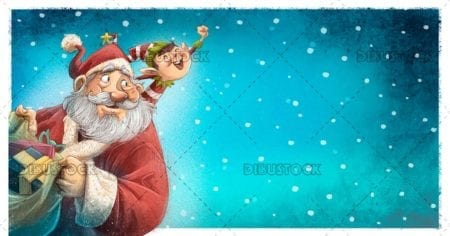 Santa claus with elf and gifts