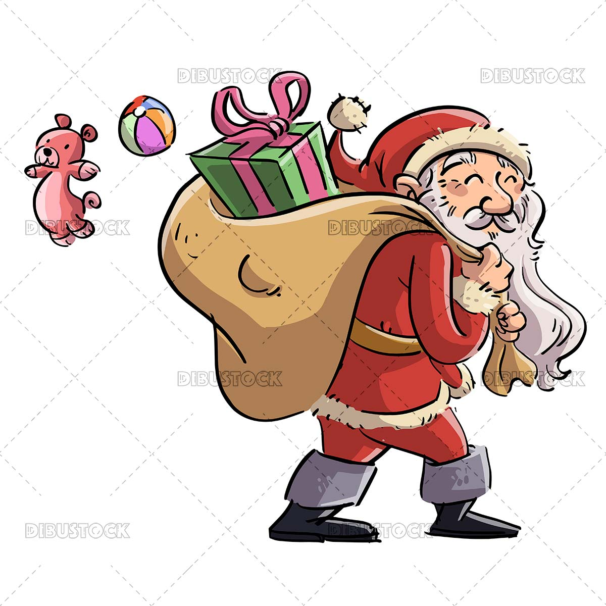 Santa claus with sack full of presents