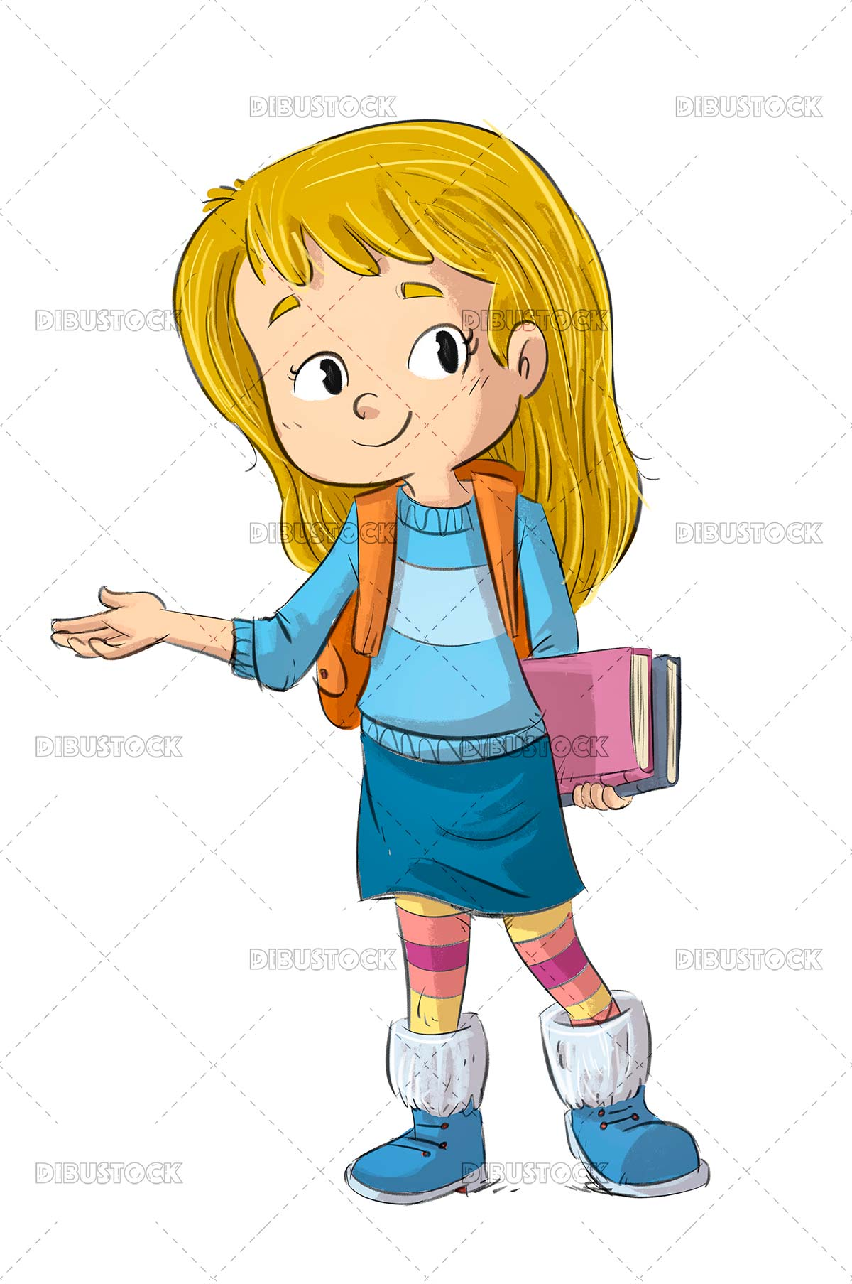 Student girl with books and backpack