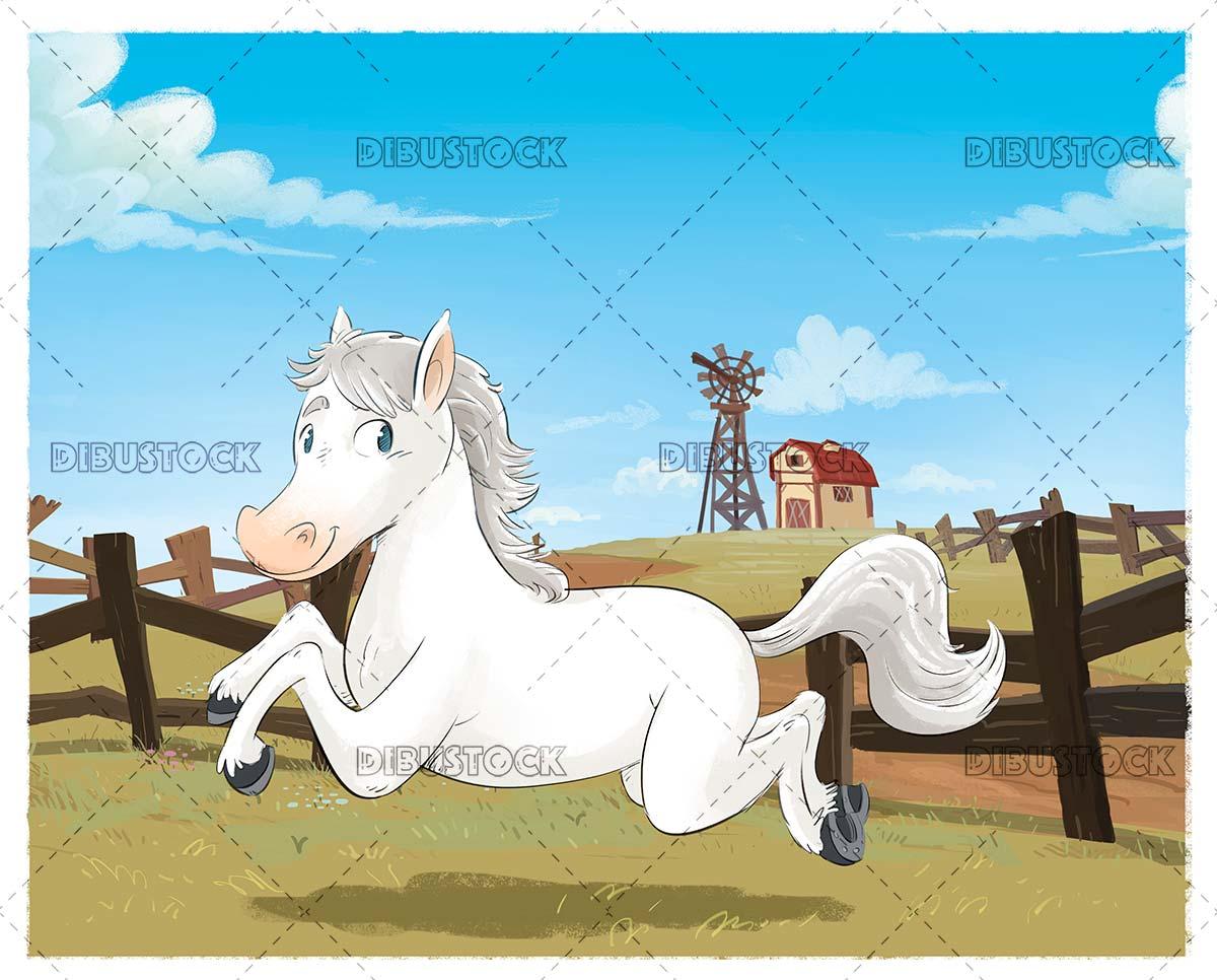 White horse running through the farm